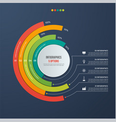 circle informative infographic design 5 options vector image vector image