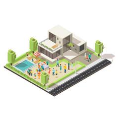 isometric suburban villa party concept vector image