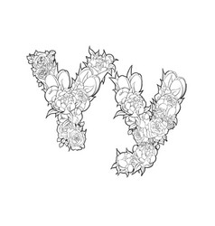 letter y made of flowers vector image vector image
