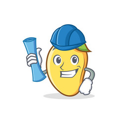 Architect mango character cartoon mascot vector
