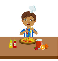 boy making pizza cute kid in chief toque hat vector image vector image