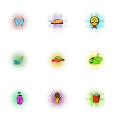 Golf icons set pop-art style vector image vector image
