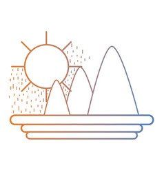 line natural mountains sun landscape vector image vector image