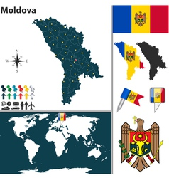 Moldova map world vector image vector image