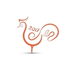 Red rooster stylized vector image