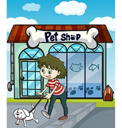 A smiling girl with dog and a pet shop vector image vector image