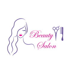beautiful woman logo template for hair vector image