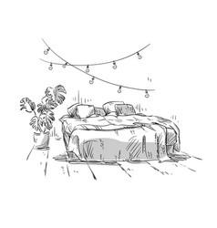 bedroom drawing interior design vector image