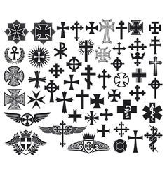 Big collection of crosses vector image vector image