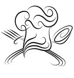 Chef hat with spoon vector