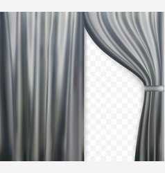 naturalistic image of curtain open curtains gray vector image vector image