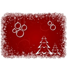 Red Christmas background with bolls and tree vector image