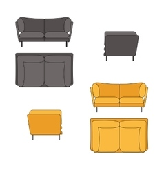 Sofa Set Flat Grey Yellow vector image