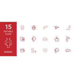 15 animal icons vector image