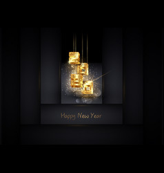 3d gold 2020 christmas and happy new year banner vector image