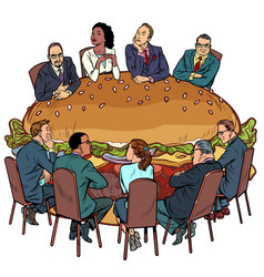 A group people in a restaurant burger fast vector
