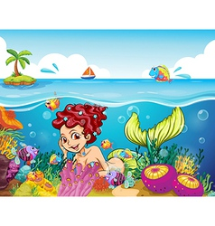 A smiling mermaid under the sea vector image