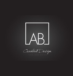 ab square frame letter logo design with black and vector image