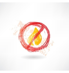 Ban fire grunge icon vector