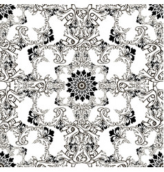 baroque black and white ornamental seamless vector image