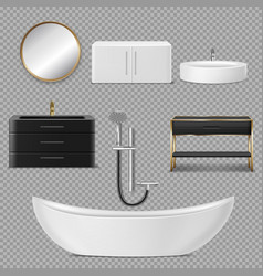 Bath shower mirror and sink icons for bathroom vector