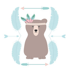 bear grizzly with feathers hat and arrows frame vector image