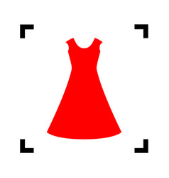 beautiful long dress sign red icon inside vector image