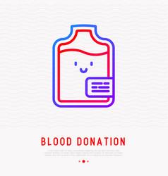 blood donation concept happy smiling blood bag vector image