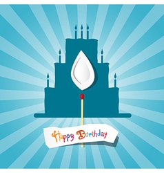 Blue Birthday Background with Cake Silhouette vector image