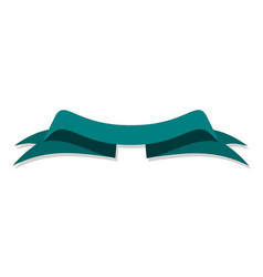 blue green banner ribbon on white background vector image