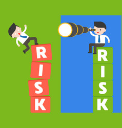 Businessman sit on risk block with binocular and vector