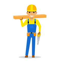 Carpenter with wooden boards and a saw vector