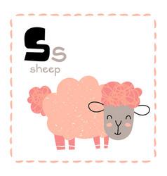 Cartoon alphabet letter s for sheep for teaching vector