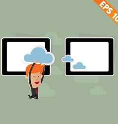 cartoon business man carry cloud service vector image