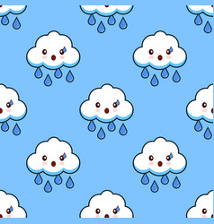 Cartoon seamless pattern cloud rainy cute kawaii vector
