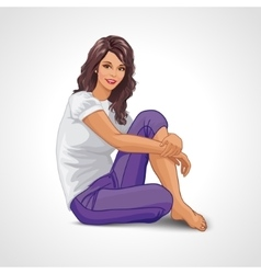 Cartoon smiling brunette girl sitting frontal on vector
