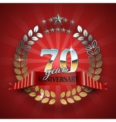 Celebration golden frame for 70th anniversary vector