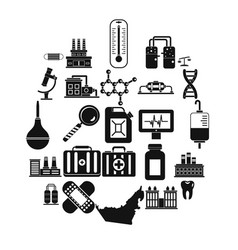 Chemical industry icons set simple style vector