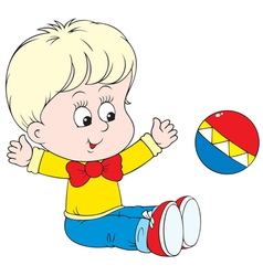 Child playing a ball vector