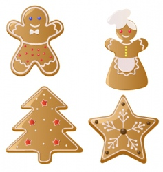 Christmas gingerbread cookies vector image vector image