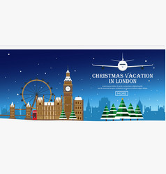 Christmas journey to london flat vector