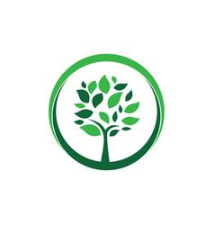 Circle tree landscapes nature logo design vector