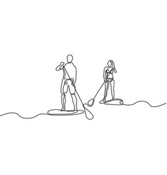 continuous line man and woman doing paddle vector image