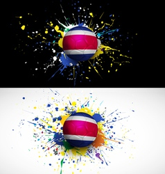 costarica flag with soccer ball dash on colorful vector image