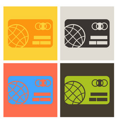 Credit card icon with globe image in flat style vector