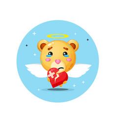 Cute angel bear is sad holding love vector
