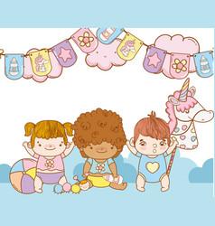 cute babys cartoon vector image