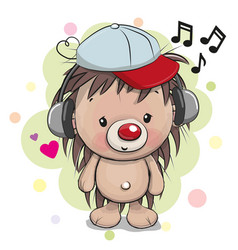 Cute cartoon hedgehog with headphones vector