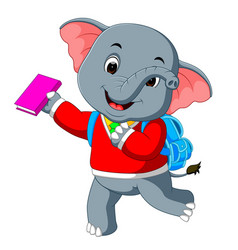 cute elephant on his way to school vector image