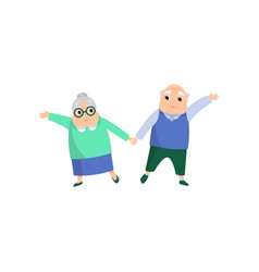 cute lovely senior couple woman and man dancing vector image